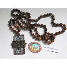 Knotted Tiger Eye Beaded Necklace with Bee Pendant