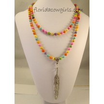 Bright Long Beaded Feather Cowgirl Necklace