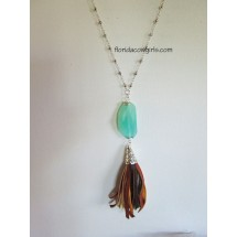 Boho Cowgirl Leather Tassel Necklace