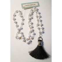 Horse Hair Fan Tassel Rosary Pearl Bead Long Cowgirl Necklace