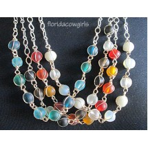 Colorful Glass Bead Wire Wrapped Chain Necklace