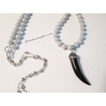 Crystal Tusk Pendant Necklace