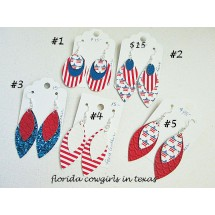 Clearance Patriotic Faux Leather Layered Earrings