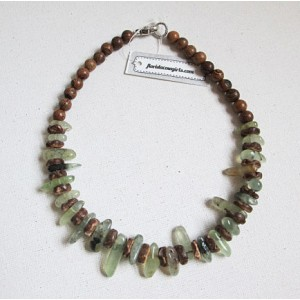 Green Prehnite & Wood Choker Necklace