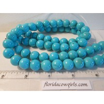 Blue Dyed Turquoise Beads, 12mm Round, Full Strand #tq495