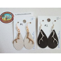 Leather Earrings with Antler Charms
