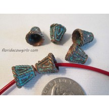 Green Patina Copper Greek Bead Cones #bm220