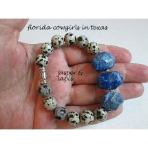 Jasper & Lapis Nuggets Stretch Roll On Bracelet