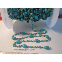 Blue Howlite Beaded Fashion Chain - Sold by the Foot ch111