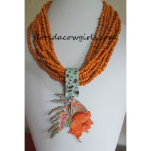 Multi Strand Burnt Orange Hand Patina Chief Pendant Necklace