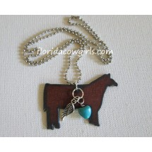 Show Steer Blue Heart Rustic Necklace