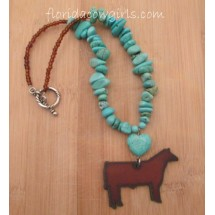 Rustic Show Steer Turquoise Bead Necklace