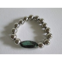 Turquoise Silver Stretch Bracelet