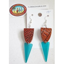Blue Sea Glass with Leather Earrings