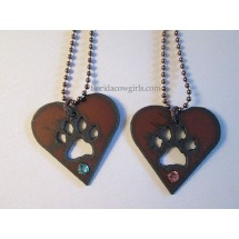Love Heart Dog Paw Print Rustic Necklace