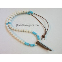 Bone Pendant Beaded Necklace