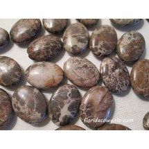 Brown Jasper Oval Beads - 7 beads - j1046
