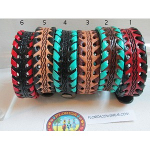 Leather Skinny Cuff Bracelet with Whip Edges