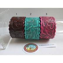 Leather Carved Rose Cuff Bracelet with Scalloped Edges