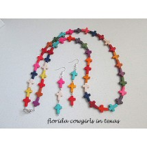 Multi Color Cross Necklace