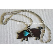 Show Pig Blue Heart Rustic Necklace
