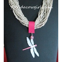 Multi Strand Ivory Bead Hand Painted Dragonfly Pendant  Necklace
