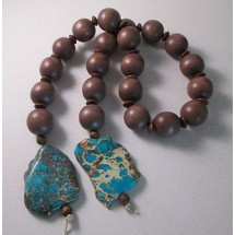 Texas Table Beads, Brown Wood Bead Garland with Jasper Slabs
