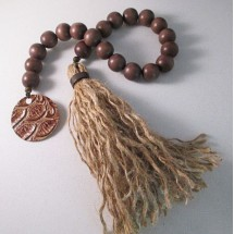 Texas Table Beads, Brown Wood Bead Garland with Jute Tassel