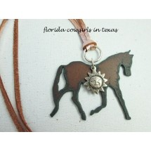 Guardian Angel Trotting Horse Necklace with Sun