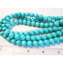 Wood Round Beads - 10mm Dyed Turquoise - 1 Strand wb103