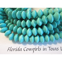 Wood Saucer Beads - 8x5mm Dyed Turquoise - 1 Strand wb118