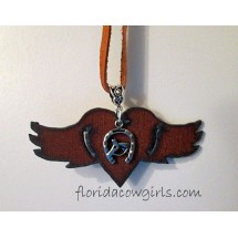 Winged Heart Horse Charm Guardian Angel Cowgirl Necklace