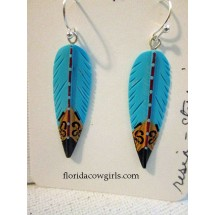 Turquoise Feather Resin Earrings