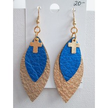 Leather Earrings Gold Blue with Cross