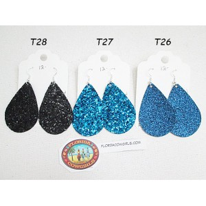 Faux Leather Glitter Teardrop Earrings