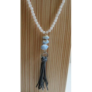 Blue Lace Agate Nuggets with Tassel Necklace