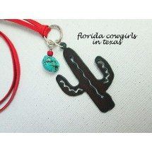 Rustic Cactus with Turquoise Necklace