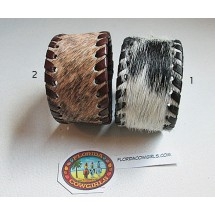 Leather Cowhide Cuff Bracelet with Whip Edges