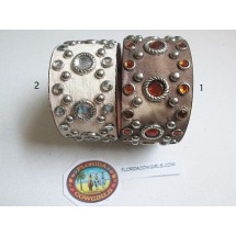 Leather Rhinestones Cuff Bracelet