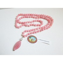 Knotted Pink Jade Beaded Necklace