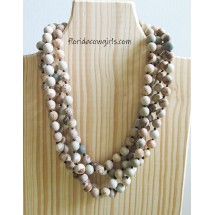 Long Knotted Gemstone Necklace