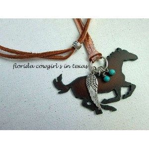 Guardian Angel Running Horse Necklace with Turquoise