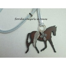 Guardian Angel Trotting Horse Necklace with Cross