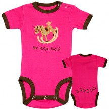 Infant Creeper Pink Comical Design My Horse Rocks